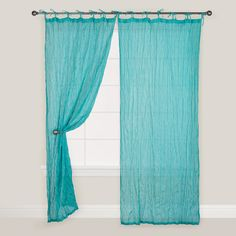 Amazon.com - Blue Crinkle Voile Cotton Curtain - World Market -