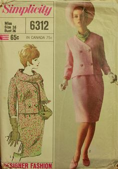 1960s Designer Fashion Double-Breasted Suit Simplicity Pattern 6312