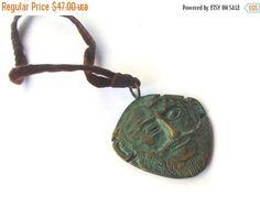 Sale Face pendant. Vintage brass pendant. by Underlyingsimplicity