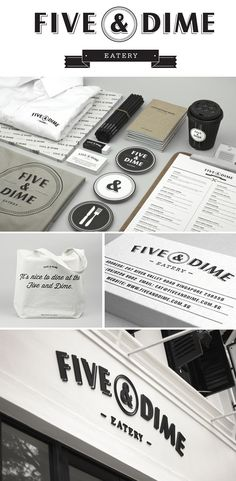 Five & Dime Eatery (Singapore) by Bravo Company. #identity #packaging #branding PD