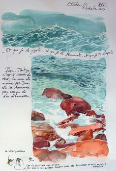 One of my favorite exercies at the Arts University was doing tiny paint sketches. I loved my painting sketchbook and even though paint wasn't ever my medium of choice (I might be terrible at it!), it really helped me get better at illustrating! Voyage Sketchbook, Sketchbook Cover, Travel Sketchbook, Artist Sketchbook, Moleskine Sketchbook, Watercolor Ocean, Watercolor Sketchbook, Painting & Drawing, Watercolor Paintings
