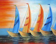 Lienzo abstracto veleros