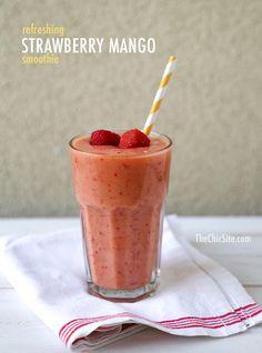 The Chic Site 1 cup apple juice 2 cubes frozen plain non-fat yog. 1/2 cup frozen strawberries 1/2 cup frozen mango