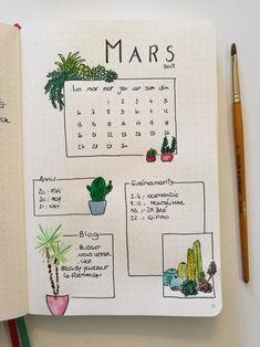 Idées de mise en page de monthly log minimalist. Un joli monthly log simple à créer dans son bullet journal. Un bujo minimalist facile à créer qui peut être décoré avec quelques succulentes et plantes.