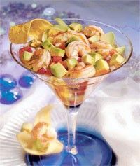 """This recipe was created by Chef Rafael Palomino of Pacifico (Nuevo Latino Restaurant and Tapas) in New York, courtesy the Chilean Avocado Importers Association. This dish is not a true """"ceviche"""" because the fish (in this case, shrimp) gets cooked before serving."""