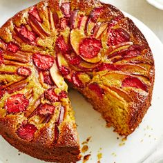 Anna Jones' strawberry and nectarine polenta and pistachio cake with whipped coconut yogurt