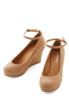 The Cutest Commute Wedge. When work is right around the corner from home, the only mode of transportation you need is a chic pair of shoes, like these tan wedges. #gold #prom #modcloth