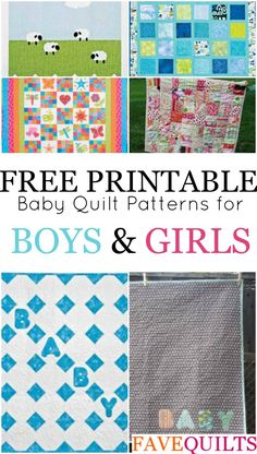 14 Easy Baby Quilt Patterns for Boys and Girls - Learn how to quilt with free quilting patterns for baby quilts and easy baby blanket patterns. Easy Quilt Patterns Free, Baby Boy Quilt Patterns, Baby Girl Quilts, Girls Quilts, Quilt Block Patterns, Blanket Patterns, Baby Clothes Quilt, Applique Patterns, Nine Patch