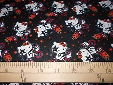 "1 Yard Hello Kitty ""Kiss on the Go"" Black Fabric"