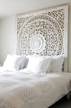 Nice headboard <3 painting a large piece of wood white would look great against your grey walls.
