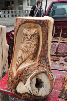 Owl Wood Carving by Chainsaw-M-Carvings
