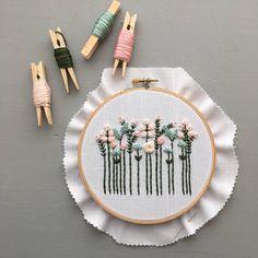 Wildflower Embroidery Kit Pastels DIY Hoop Art Preprinted