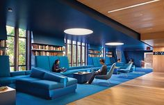 The ideal University would have this nice blue study area to help calm and…