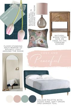 Our look of the week is a soft and feminine bedroom with a blush pink, teal, navy and light grey colour palette with floral patterned cushions and a teal upholstered bed. Blush Pink And Grey Bedroom, Pink Master Bedroom, Teal Bedroom Decor, Feminine Bedroom, Glam Bedroom, Bedroom Colors, Blush Bedroom, Bedroom Ideas, Light Teal Bedrooms