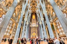 Architecture: Segrada Familia, Gaudi, Barcelona, Spain