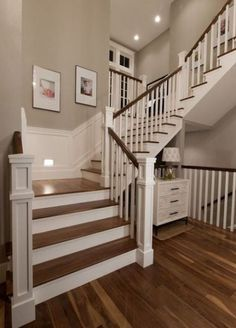 Painted wooden stairs ideas 20 ideas for 2019 House Stairs Ideas Painted Stairs wooden Painting Wooden Stairs, Painted Stairs, Bannister Ideas Painted, U Stairs Design, Wooden Staircase Design, Square Newel Post, Traditional Staircase, Wooden Staircases, Stairways