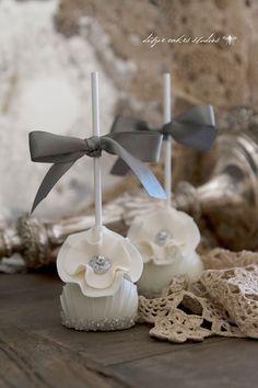 Elegant Glittering Silver Wedding Cake Pops