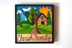 """Sticks Furniture 7 x7"""" hand wood burned and painted plaque - """"Cherish Family"""".  Available at Good Goods in Saugatuck Michigan. goodgoods.com"""