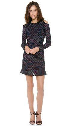 M Missoni Diamond Knit Open Shoulder Dress