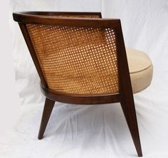 pair of mid century Harvey Probber Walnut And Cane hoop chairs (4 available) | From a unique collection of antique and modern armchairs at https://www.1stdibs.com/furniture/seating/armchairs/