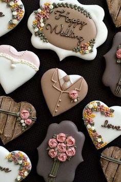 Galletas decoradas boda Wedding cookies (With images) Fancy Cookies, Valentine Cookies, Iced Cookies, Cute Cookies, Royal Icing Cookies, Cupcake Cookies, Sugar Cookies, Cookies Et Biscuits, Cookie Favors