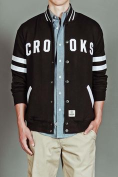 Crooks and Castles Barbwired B-Ball Jacket