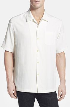 Tommy Bahama Tommy Bahama 'MLB™ - Caught Looking' Original Fit Jacquard Silk Camp Shirt available at #Nordstrom