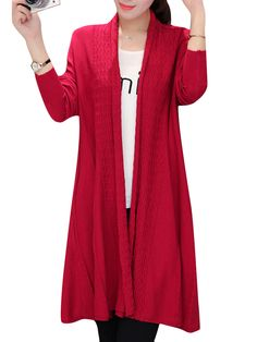 Sale 10% (31.89$) - Women Solid Long Sleeve Knitted Loose Long Sweater Coat