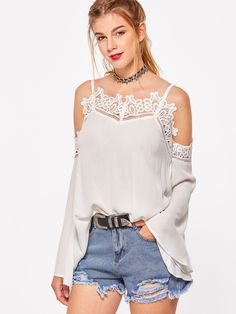 Shop White Lace Trim Cold Shoulder Bell Sleeve Top online. SheIn offers White Lace Trim Cold Shoulder Bell Sleeve Top & more to fit your fashionable needs.