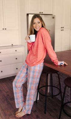 Get cozy in our comfiest loungewear. Asheville Terry Sweater + Savannah Gingham Lounge Pants. #southernmarsh #sleepwear #women