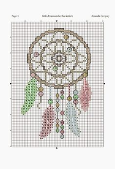 Amanda Gregory cross-stitch design: a little dreamcatcher free chart