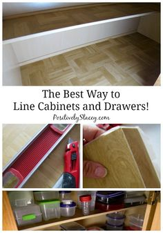 The Best Way to Line Kitchen Cabinets – Positively Stacey The Best Way to Line Cabinets and Drawers! This is how I have lined my kitchen cabinets since I first became a homeowner. It takes a bit more time, effort, and money – but it is worth it! Lining Kitchen Cabinets, Kitchen Cabinet Liners, Kitchen Cabinet Shelves, Inside Cabinets, Kitchen Drawer Organization, Kitchen Cabinets In Bathroom, Kitchen Drawers, Kitchen Tops, Kitchen Ideas