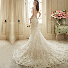 Goedkope Vestido De Noiva Renda 2016 Vintage Kant Backless Trouwjurken Bruid…