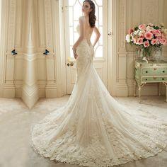 Vestido De Noiva Renda 2016 do laço do Vintage Backless Casamento Vestidos De Noiva Sexy sereia Vestidos De Casamento 2016 Vestidos Casamento Civil alishoppbrasil