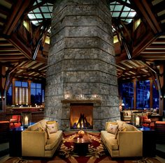 The fabulous circular fireplace at the Ritz Carlton Lake Tahoe is surrounded by Adirondack-style lounge chairs—so you and your paramour can lay back and gaze into the flames to your heart's content.