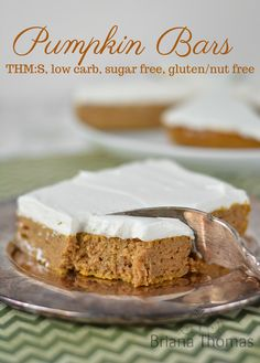 These pumpkin bars are THM:S, low carb, sugar free, and gluten/nut free. Trim Healthy Mama Diet, Trim Healthy Recipes, Pumpkin Recipes, Low Carb Recipes, Snack Recipes, Dessert Recipes, Fall Recipes, Healthy Eating, Pumpkin Dishes