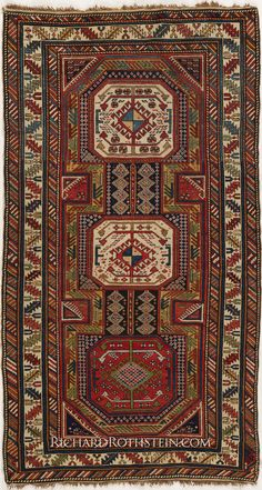 """Antique Shirvan Caucasian Rug Antique Shirvan Caucasian Rug Item# 84d398 Size: 4' 1"""" x 7' 4"""""""