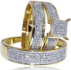 Yellow Gold Trio Wedding Set Mens Women rings real 0.53ct diamonds princess pave - Listing price: $2,055.00 Now: $649.00