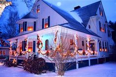 Atlantic Birches Inn in Old Orchard Beach, Maine, decorated for Christmas