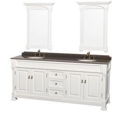 """Andover 80"""" Double Bathroom Vanity Set with Mirror"""
