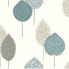 Teal / Silver / Beige - 884002 - Dante Motif - Leaf - Tree - Opera - Arthouse Wallpaper