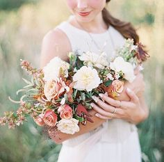 Beautiful bridal shoot by Bethany Erin featuring a stunning bouquet in muted fall colours by Boheme Floral Lilac Bouquet, Bridal Bouquet Fall, Blush Flowers, Wedding Bouquets, Elegant Wedding, Floral Wedding, Fall Wedding, Wedding Flowers, Fall Flower Girl
