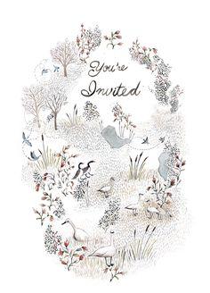 illustration -- invitation, hand lettering, plants, animals