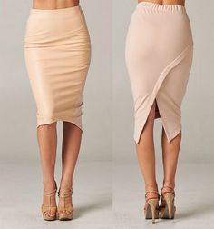 Taupe Faux Leather Front Stretchy Wrap Back Asymmetric Hem Pencil Skirt Sexy NWT #365chic #StraightPencil