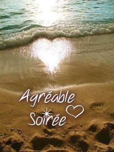 Agréable Soirée #bonnesoiree mer plage vague coeur