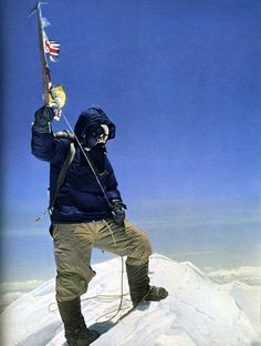 1953 - Sir Edmund Hillary, on the summit of Mt Everest. The first confirmed climber to reach the summit, with help from Tenzing Norgay.
