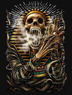 Winya No. Art Print by winya Kunst Tattoos, Bild Tattoos, Body Art Tattoos, Indian Skull Tattoos, Egyptian Tattoo Sleeve, Anubis Tattoo, Totenkopf Tattoos, Skull Pictures, Skull Artwork