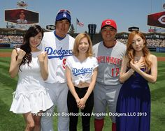 Tiffany, Sunny and TaeYeon @ LA Dodgers Stadium with Ryu and Choo