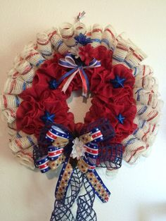 Burlap patriotic wreath by lace's crafty creations visit us on Facebook