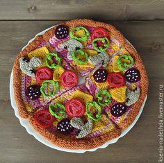 """Купить Вязаный игровой набор """" Приготовь пиццу"""" - вязаная игрушка, разноцветный, развивающие игрушки Crochet Cake, Crochet Fruit, Crochet Food, Love Crochet, Crochet For Kids, Crochet Crafts, Crochet Projects, Knit Crochet, Food Patterns"""